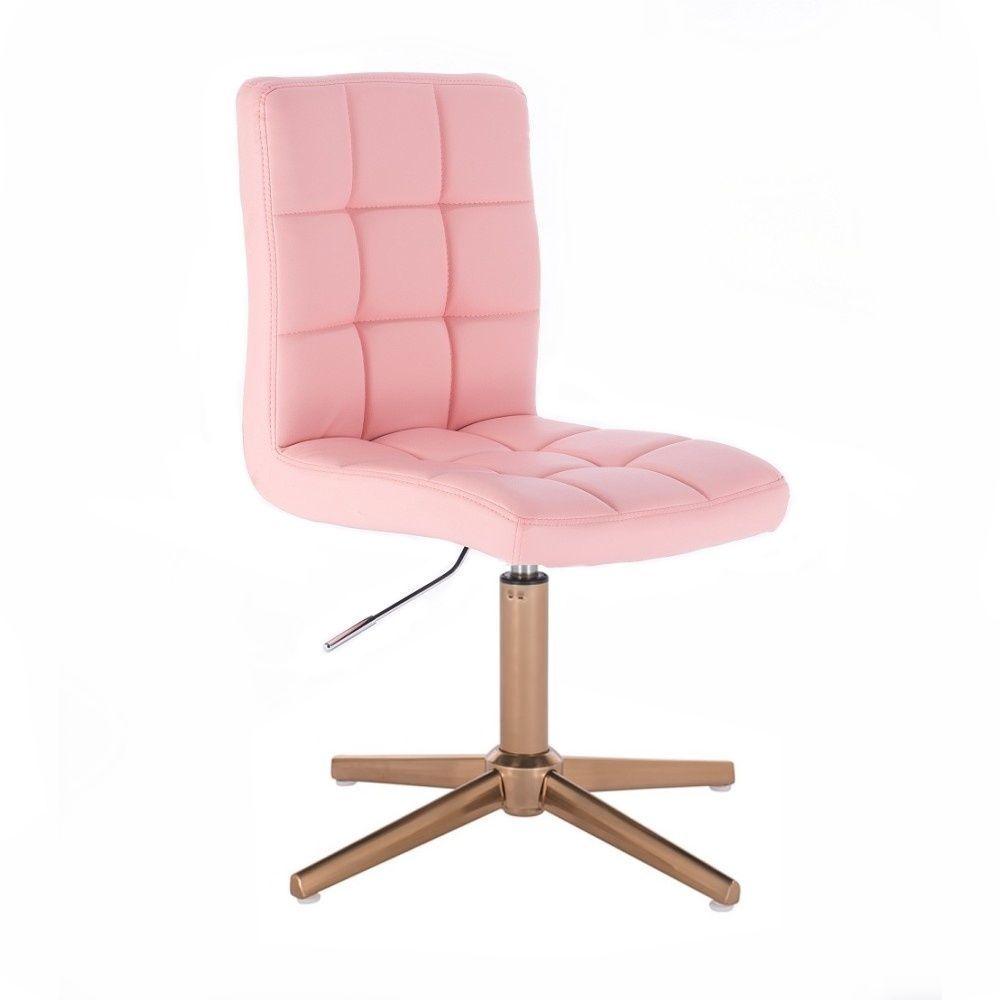 Kosmetická židle TOLEDO na zlatém kříži - růžová