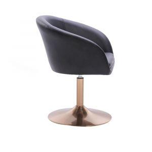 Kosmetická židle VENICE na zlatém talíři  - černá