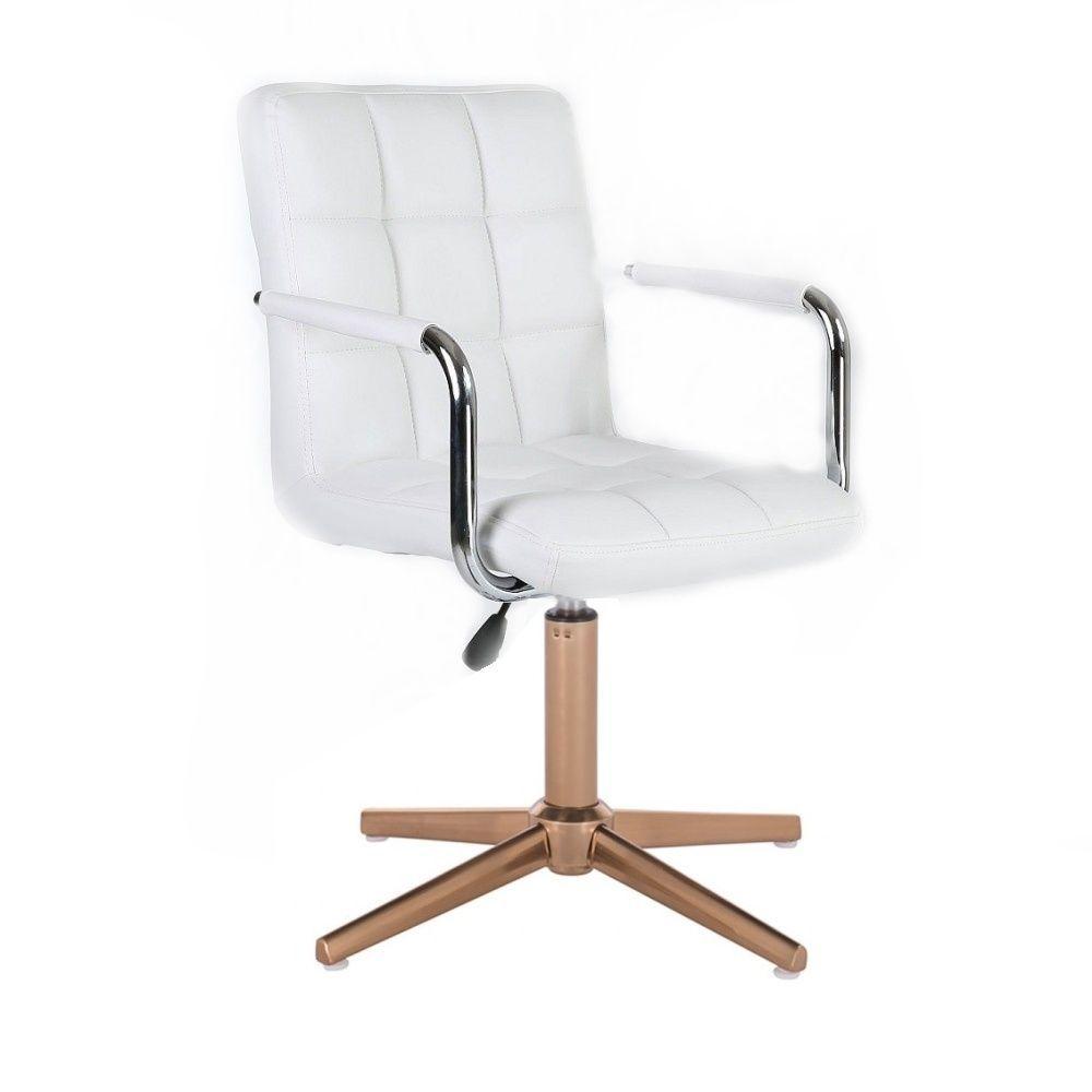Kosmetická židle VERONA na zlatém kříži - bílá