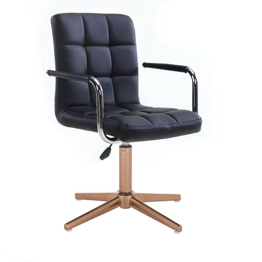 Kosmetická židle VERONA na zlatém kříži - černá