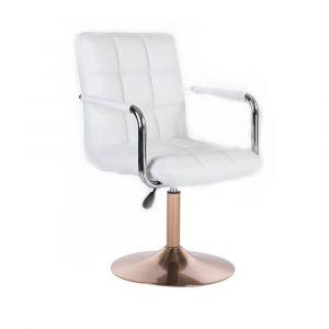 Kosmetická židle VERONA na zlatém talíři - bílá