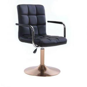 Kosmetická židle VERONA na zlatém talíři - černá