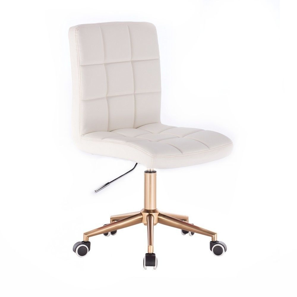Židle TOLEDO na zlaté podstavě s kolečky - bílá