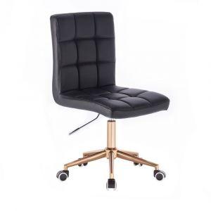 Židle TOLEDO na zlaté podstavě s kolečky - černá