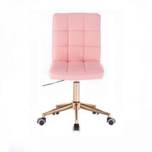 Židle TOLEDO na zlaté podstavě s kolečky - růžová