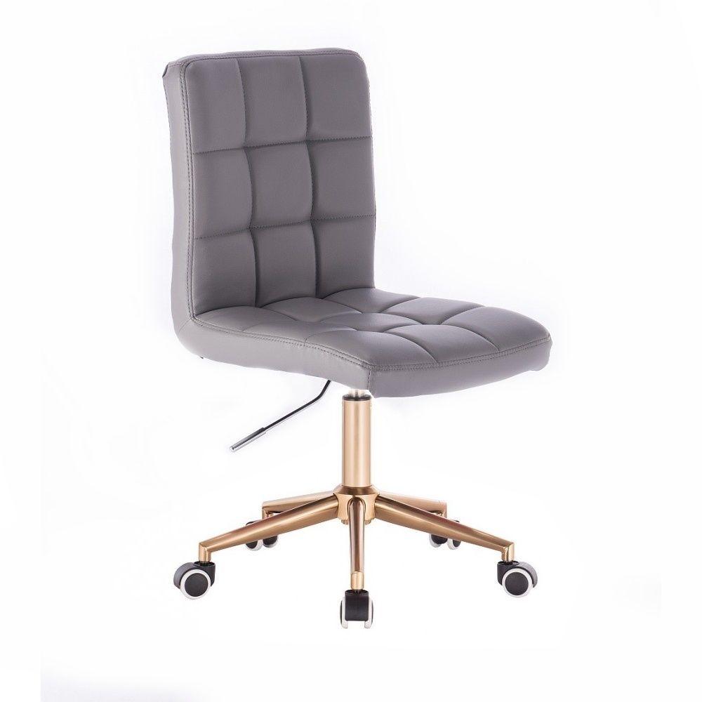 Židle TOLEDO na zlaté podstavě s kolečky - šedá