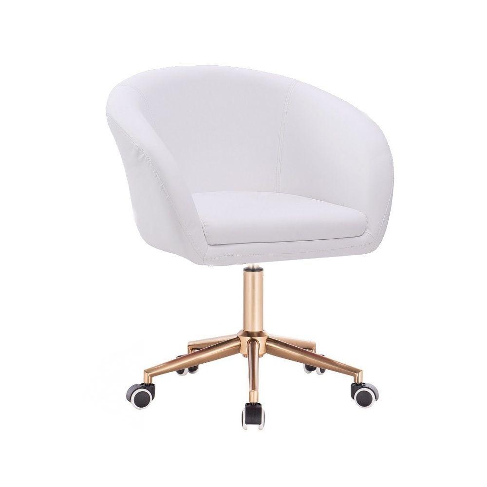 Židle VENICE na zlaté podstavě podstavě s kolečky  - bílá