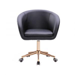 Židle VENICE na zlaté podstavě podstavě s kolečky  - černá