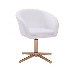 Židle VENICE na zlatém kříži  - bílá