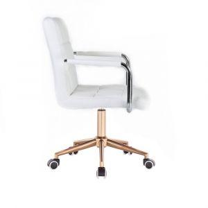 Židle VERONA na zlaté podstavě s kolečky - bílá