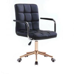 Židle VERONA na zlaté podstavě s kolečky - černá