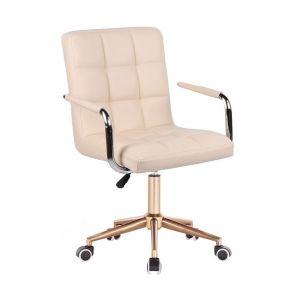 Židle VERONA na zlaté podstavě s kolečky - krémová
