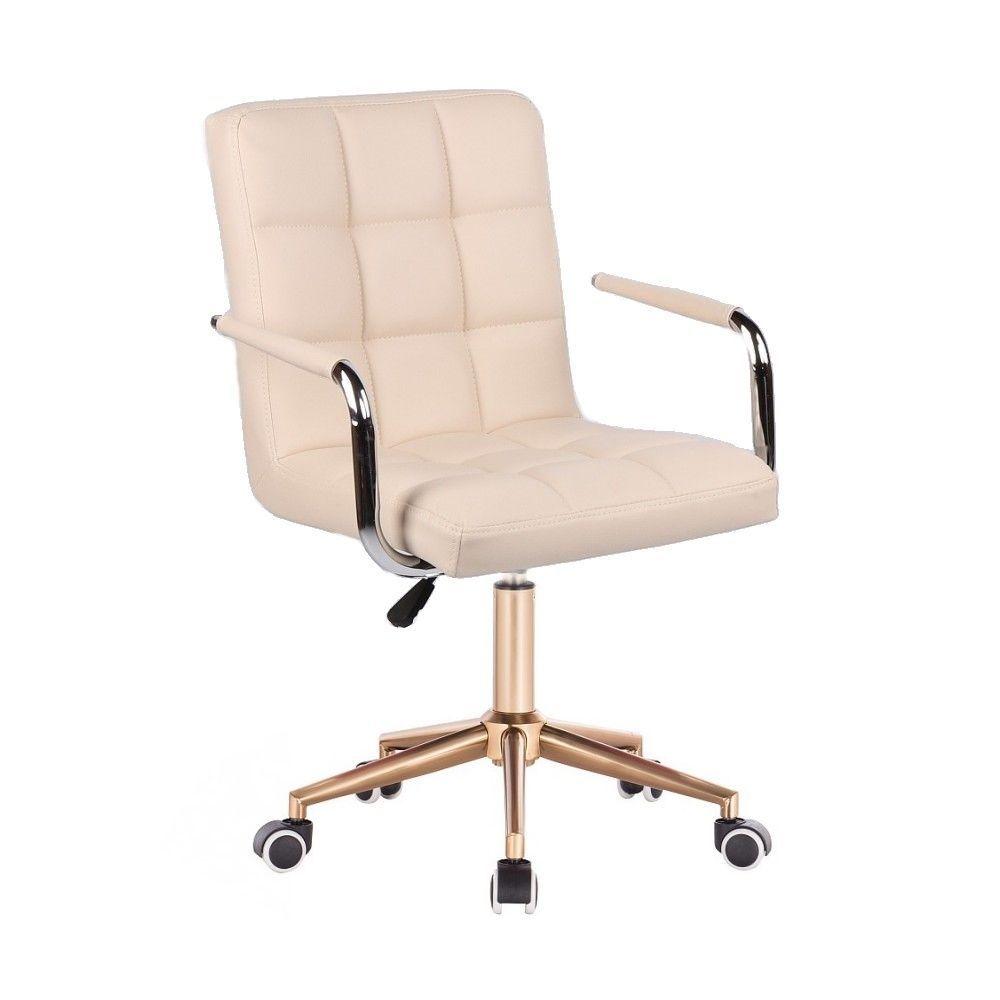 Židle VERONA na zlaté podstavě s kolečky -krémová