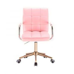 Židle VERONA na zlaté podstavě s kolečky - růžová