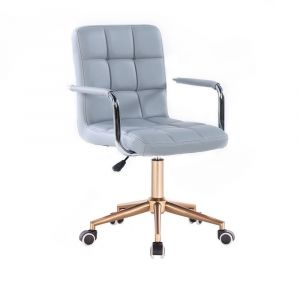 Židle VERONA na zlaté podstavě s kolečky - šedá
