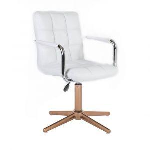 Židle VERONA na zlatém kříži - bílá