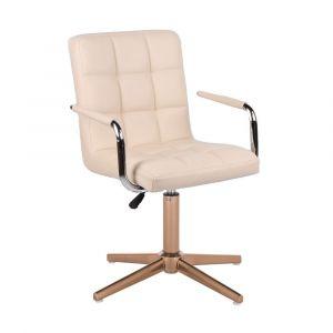 Židle VERONA na zlatém kříži - krémová