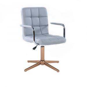 Židle VERONA na zlatém kříži - šedá