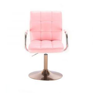 Židle VERONA na zlatém talíři - růžová