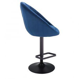 Barová židle VERA VELUR na černém talíři - modrá