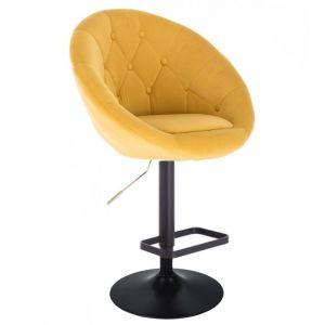Barová židle VERA VELUR na černém talíři - žlutá