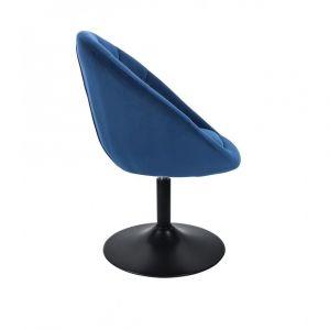 Křeslo VERA VELUR na černém talíři - modré