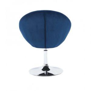Křeslo VERA VELUR na stříbrném talíři - modré