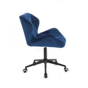 Židle MILANO VELUR na černé podstavě s kolečky - modrá
