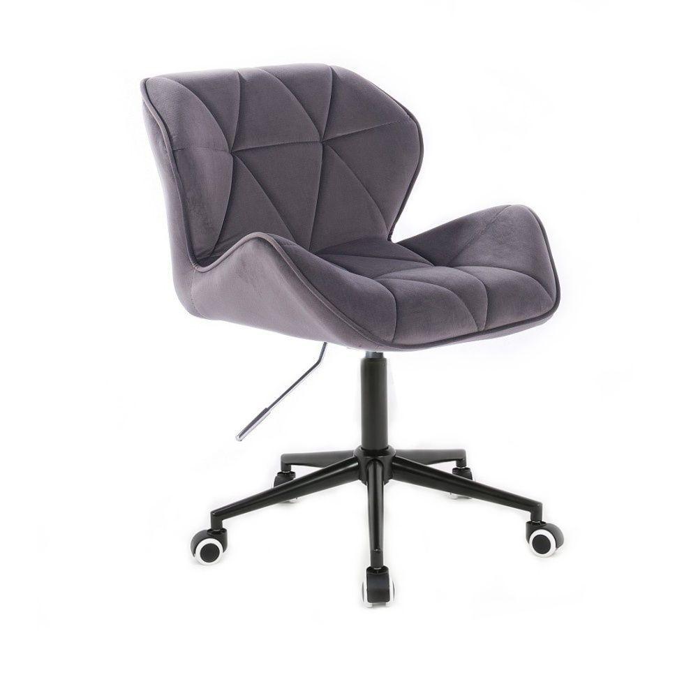 Židle MILANO VELUR na černé podstavě s kolečky - tmavě šedá