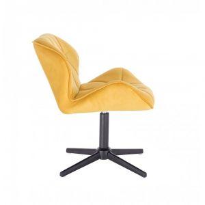 Židle MILANO VELUR na černém kříži - žlutá