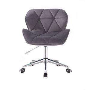 Židle MILANO VELUR na stříbrné podstavě s kolečky - tmavě šedá