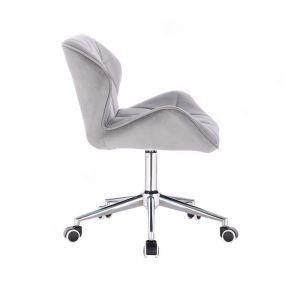 Židle MILANO VELUR na stříbrné podstavě s kolečky - světle šedá