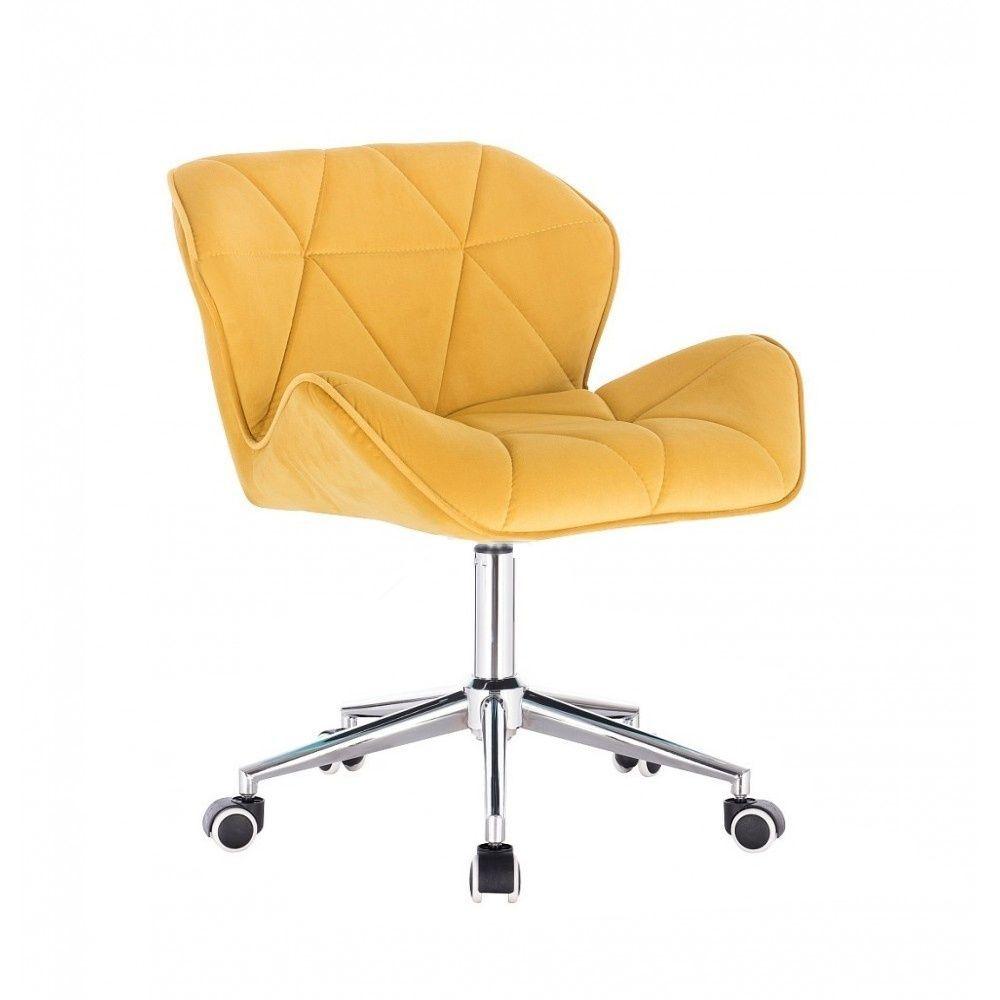 Židle MILANO VELUR na stříbrné podstavě s kolečky - žlutá