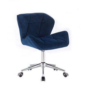 Židle MILANO VELUR na stříbrné podstavě s kolečky - modrá