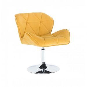 Židle MILANO VELUR na stříbrném talíři - žlutá