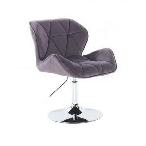 Židle MILANO VELUR na stříbrném talíři - tmavě šedá