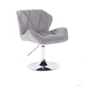 Židle MILANO VELUR na stříbrném talíři - světle šedá