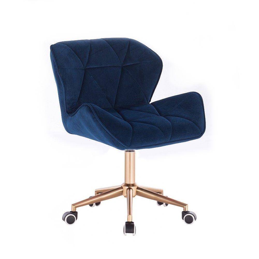 Židle MILANO VELUR na zlaté podstavě s kolečky - modrá