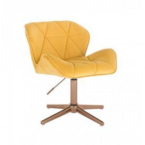Židle MILANO VELUR na zlatém kříži - žlutá