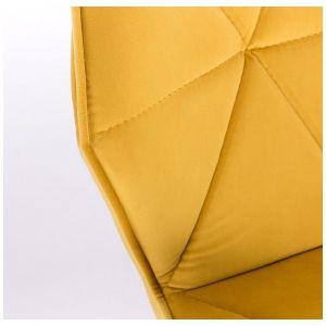 Židle MILANO VELUR na zlatém talíři - žlutá