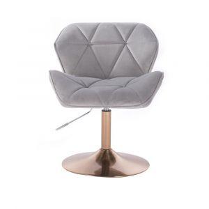 Židle MILANO VELUR na zlatém talíři - světle šedá