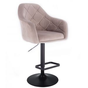Barová židle ANDORA VELUR  na černém talíři - béžová