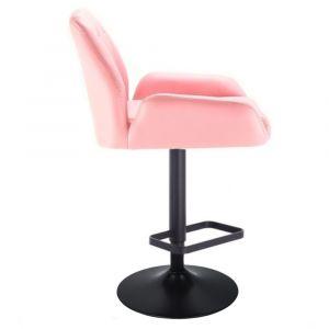 Barová židle LION na černém talíři - růžová