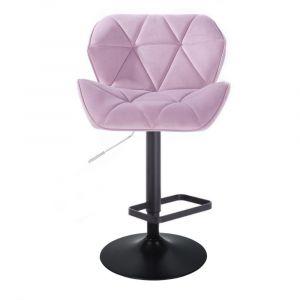 Barová židle MILANO VELUR na černém talíři  - fialový vřes