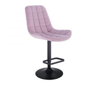 Barová židle PARIS VELUR na černém talíři - fialový vřes