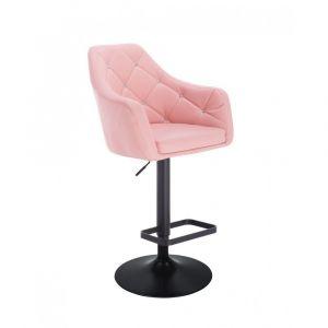Barová židle ROMA na černém talíři - růžová