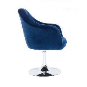Kosmetické křeslo ANDORA VELUR  na stříbrném talíři - modré
