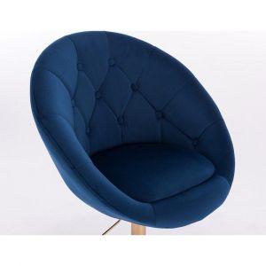 Kosmetické křeslo VERA VELUR na černé podstavě s kolečky - modré