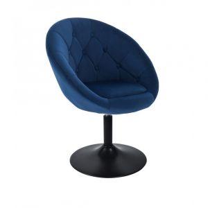 Kosmetické křeslo VERA VELUR na černém talíři - modré