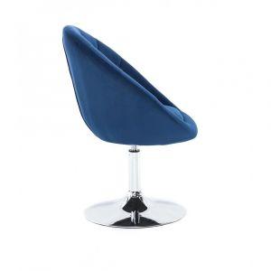 Kosmetické křeslo VERA VELUR na stříbrném talíři - modré